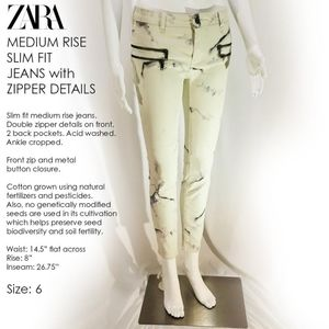ZARA MEDIUM RISE SLIM FIT JEANS with ZIPPER DETAIL